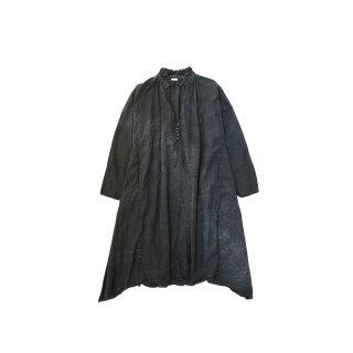quitan / Frilled Tunic - Cotton / Silk Khadi / BLACK