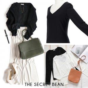 【SALE】【ゆうパケ】前身ごろが透けないVネックベーシックTシャツ(ブラック)