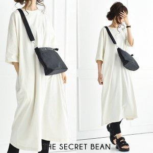 【ゆうパケ】天竺5分袖オーバーサイズTシャツワンピース(アイボリー)