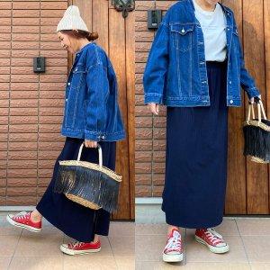 【SALE】【ゆうパケ】2color◆2size◆ワイドテレコスカート