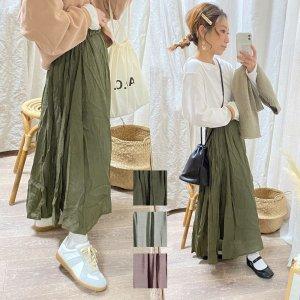 【ゆうパケ】3color◆スラブ素材フレアスカート