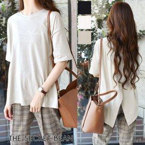 【秋物新作】【ゆうパケ】3color◆バック重ねスリット半袖ロゴTシャツ