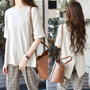 【ゆうパケ】2color◆バック重ねスリット半袖ロゴTシャツ