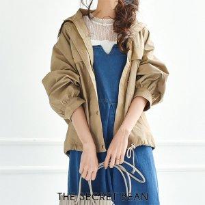 2size◆胸ポケット付オーバーサイズマウンテンパーカー(ベージュ)