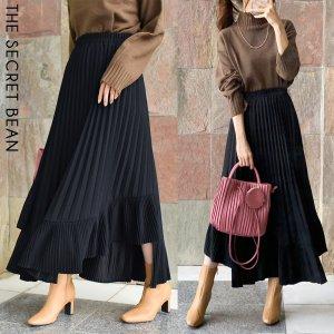 【ゆうパケ】イレギュラー裾切替プリーツスカート(ブラック)
