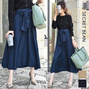 【ゆうパケ】2color◆微光沢 ウエストリボン上品フレアスカート