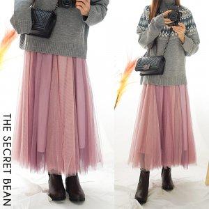 【ゆうパケ】配色重ねチュールスカート(ダスティピンク)