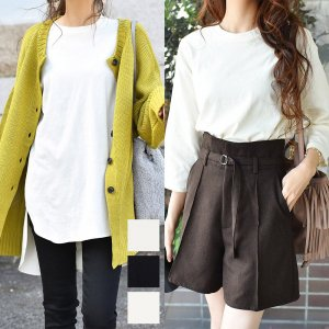 【ゆうパケ】4color◆裾前後差オーバーサイズ7分袖チュニックTシャツ