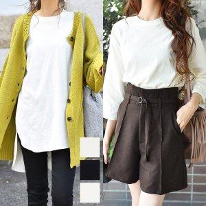 【ゆうパケ】3color◆裾前後差オーバーサイズ7分袖チュニックTシャツ