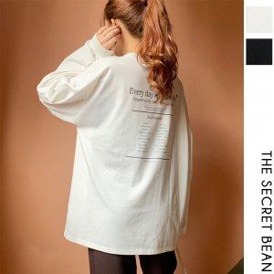 【ゆうパケ】2color◆フロント&バックプリント袖リブオーバーサイズTシャツ