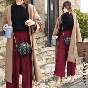 暖かフェイクメルトン オーバーサイズノーカラー美人コート