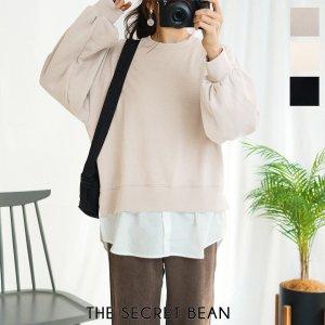 【ゆうパケ】3color◆シャツドッキング裏起毛プルオーバー