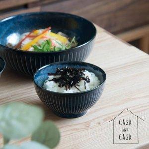 【CASA & CASA】日本製 美濃焼 インディゴ十草柄ご飯茶碗
