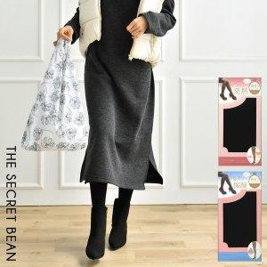 【ゆうパケ】2type◆はき心地滑らかゾッキ編み マチ付80デニールタイツ(M〜Lサイズ)