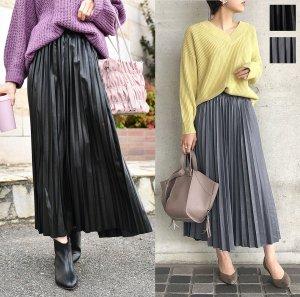 2color◆フェイクレザープリーツスカート