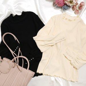 【春物新作】【ゆうパケ】2color◆袖パールボタン付き襟裾メロウリブプルオーバー