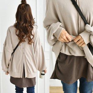 【ゆうパケ】裾前後差オーバーサイズ7分袖チュニックTシャツ(モカブラウン)