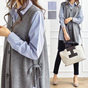 【ゆうパケ】2color◆美シルエット ストライプ柄ロングシャツ
