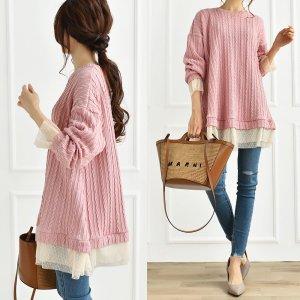 【春物新作】【ゆうパケ】ケーブル柄ふくれジャガード 裾チュールAラインチュニック(ピンク)