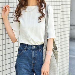 【ゆうパケ】袖裾メロウボートネック5分袖リブTシャツ(オフホワイト)