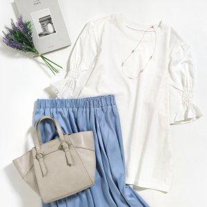 【春物新作】【ゆうパケ】変形ギャザーパフスリーブTシャツ