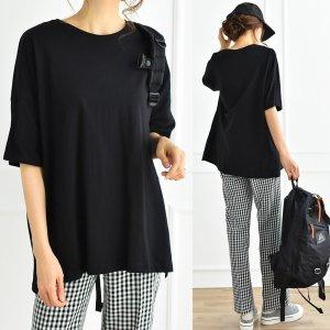 【SALE】【ゆうパケ】天竺5分袖シンプルゆるTシャツ(ブラック)