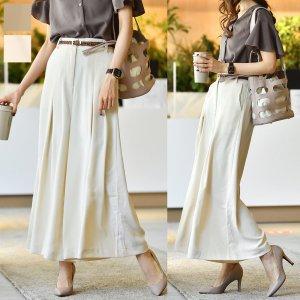 【SS新作】【ゆうパケ】2color◆スカート見えタックワイドパンツ