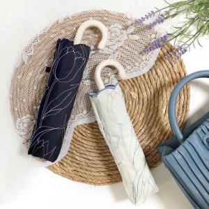 2color◆晴雨兼用 チューリップ刺繍折りたたみ傘