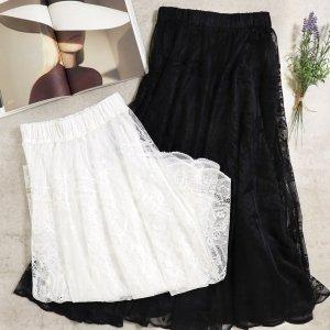 【SS新作】【ゆうパケ】2color◆花柄刺繍レースロングスカート 21SS-SK5-3