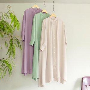【ゆうパケ】3color◆とろみ素材バンドカラーシャツワンピース