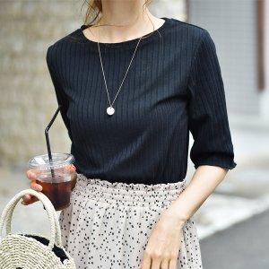 【ゆうパケ】袖裾メロウボートネック5分袖リブTシャツ(ブラック)