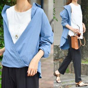 【SALE】【ゆうパケ】カシュクールシャツにもなる2wayカラーシャツ(ブルー)