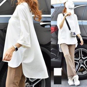 【SS新作】【ゆうパケ】2color◆ビッグシルエット裾ラウンドカットTシャツ