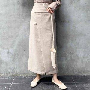 【ゆうパケ】【セットアップ対応】ヘリンボーンラップナロースカート