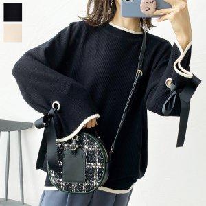 【ゆうパケ】2color◆配色デザイン袖リボンニットプルオーバー