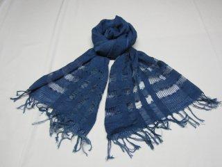 藍染スカーフ 夏用 ライン入り