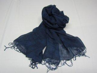 藍染スカーフ 夏用 麻&コットン