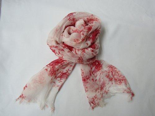 W010-01  ストール 白地赤花