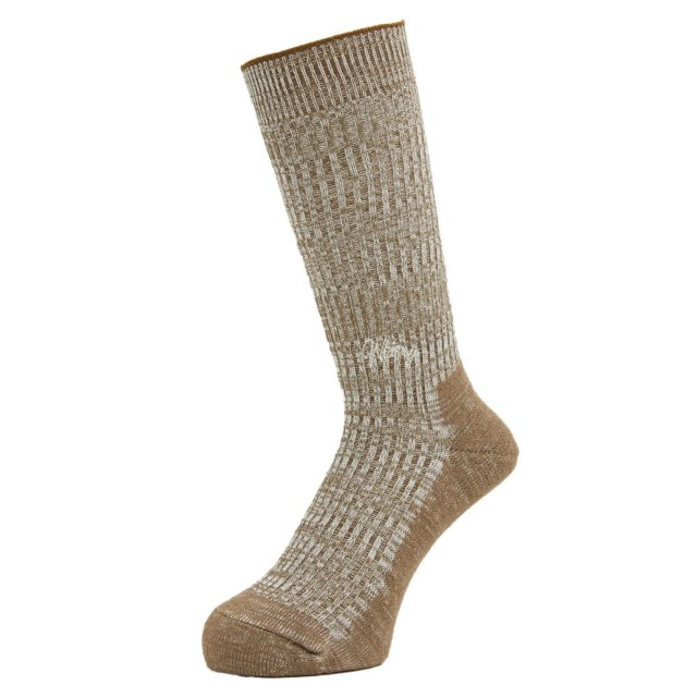 WHIMSY / DOUBLE JACQUARD EMJAY SOCKS BROWN