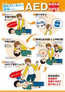 AED使用手順&救命処置ポスター  屋外対応