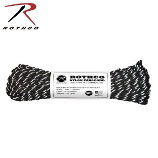 ROTHCO ナイロンパラコード リフレクティブブラック 30m(100ft)