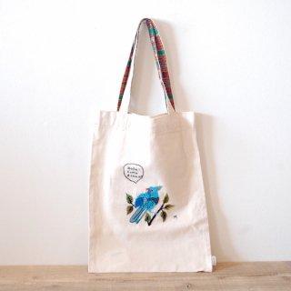 [ネコポス送料無料] ilo itoo 手刺繍の布バッグ M pajaro azul