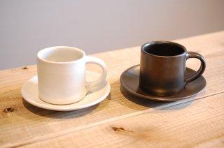 Sisam ストーンウェア カップ&ソーサー ブラック/ホワイト