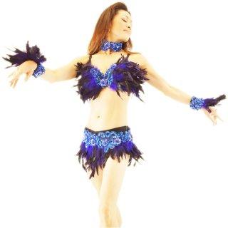 ロイヤルブルーのフェザー4点ダンサー衣装セット ハンドメイド生産 [送料無料]