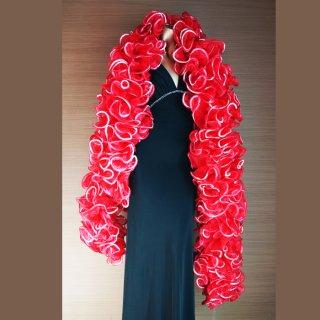 真っ赤なBIGボリューミーマラボー!シルバースパンコール装飾 バーレスクやポールダンスなどのにもおすすめ【送料無料】