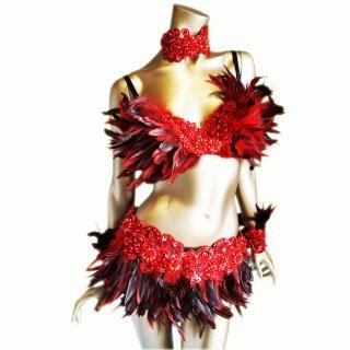 本物の羽ダンサー衣装4点セット赤ブラックMIX ビーズスパコール装飾