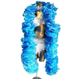 きれいなライトブルーBIGボリューミーマラボー!<BR>シルバースパンコール装飾 バーレスクやポールダンスなどの衣装アイテム