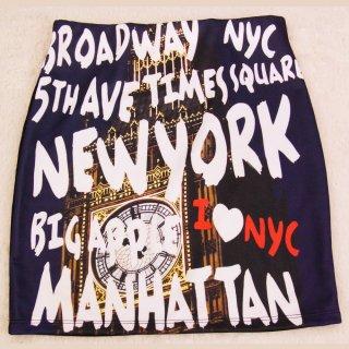 NEW YORK グラフィックデザイン 転写スカート