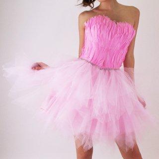 プリンセスピンクの妖精フェザー スワン カクテルドレス【送料無料】