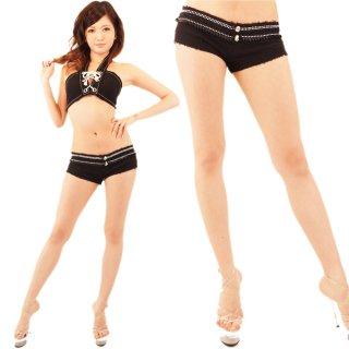 履きやすい伸縮ストレッチ キラキラなストーンのブラックショートパンツ